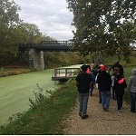 Fourth graders walk along the C&O Canal