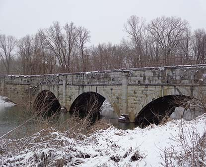 Aqueduct along the C&O Canal with snow