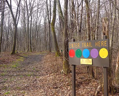 Trail head signs lead to forest covered trails in early spring