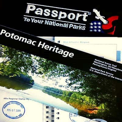 Potomac Heritage Trail passport cancellation stamp and book