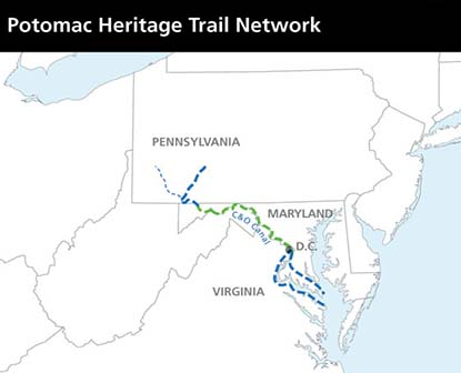 Map showing the trail network stretches from Pittsburgh, PA to the Chesapeake Bay