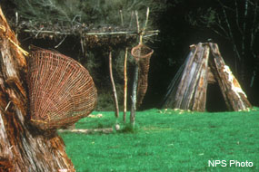 Part of a redwood kotca with a basket (left), a shade structure (center), and a second redwood kotca (right) at Kule Loklo. [Click on the image to go to the Coast Miwok at Point Reyes page.]