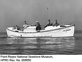 US Coast Guard Motorized Lifeboat CG-36542 with crew on Drakes Bay. Point Reyes National Seashore Museum, HPRC Rec. No. 006650.