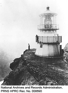 1870 Historic photo of the Point Reyes Lighthouse. National Archives and Records Administration, PRNS HPRC Rec. No. 008690