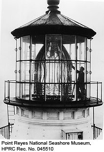 Lighthouse Keeper cleaning the Fresnel Lens. Point Reyes National Seashore Museum, HPRC Rec. No. 045510.