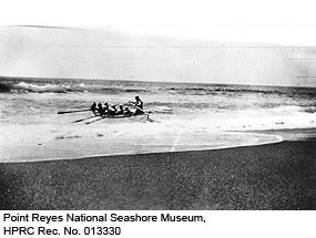 Surfboat & crew heading out through the surf. Point Reyes National Seashore Museum, HPRC Rec. No. 013330.