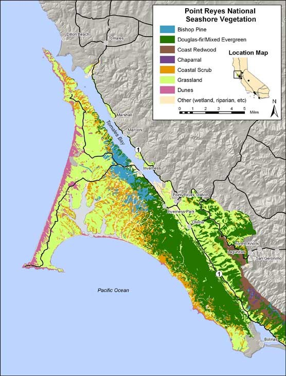 Map showing distribution of vegetation types in Point Reyes