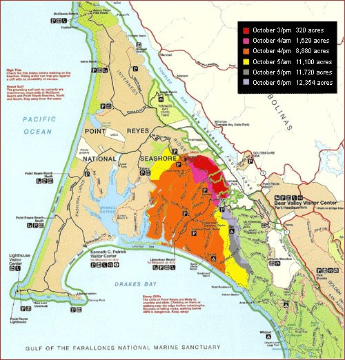 A map of most of the Point Reyes peninsula illustrating the progression of the 1995 Vision Fire. The peninsula is shaped like a triangle with an arched base. Near the center of the map is Mount Vision, the site where the fire ignited.