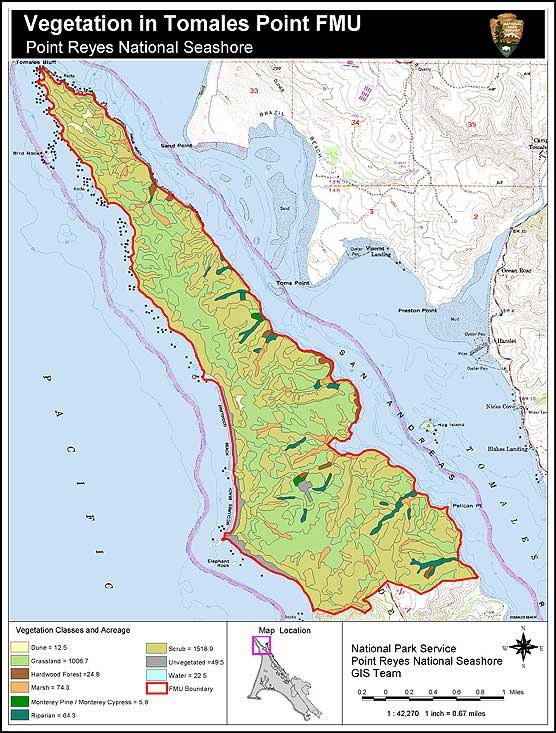 Fire Management Units Vegetation Map Tomales Point Point Reyes - Vegetation map us