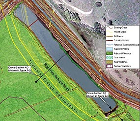 Graphic showing design of East Pasture rail refugia and berming of East Pasture Old Slough Pond for tidewater goby.