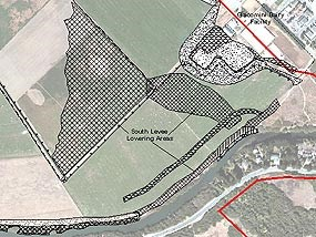 Graphic showing location of south levee lowering area.
