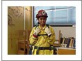 Young female fire fighter