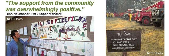 """The support from the community was overwhelmingly positive."" - Don Neubacher, Park Superintendent, images of student artwork thanking firefighters, and fire trucks parked at Sky Campground."