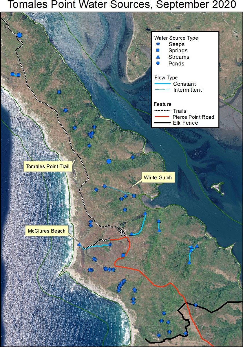 A map identifying the locations of water sources on Tomales Point as of September 2020.