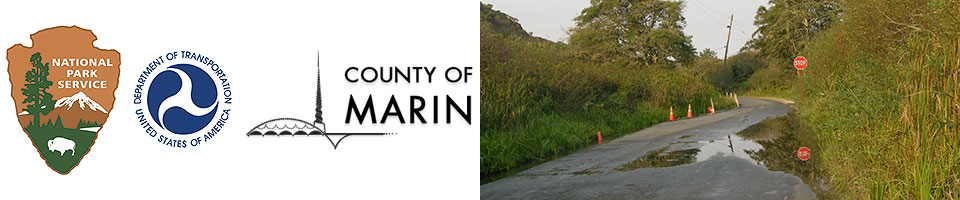 From left to right: the logos of the National Park Service, Department of Transportation, and the County of Marin, followed by an image of a partially flooded road.