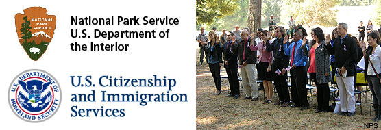 Logos for the National Park Service and the U.S. Citizenship and Immigration Service (left) and a picture of citizenship candidates taking an oath during the 2011 Naturalization Ceremony at Point Reyes National Seashore.