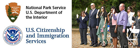 Logos for the National Park Service and the U.S. Citizenship and Immigration Service (left) and a picture of citizenship candidates taking the Naturalization Oath of Allegiance to the United States of America during the 2013 Naturalization Ceremony at Point Reyes National Seashore.