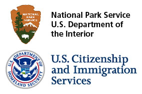 Logos of the National Park Service and the U.S. Citizenship and Immigration Services