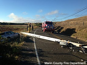 Picture of Highway 1 just north of Olema after an automobile collided with a power pole. The automobile is on the left, the pole is blocking Highway 1, and a fire truck is visible in the background.
