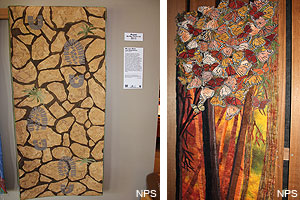 "Pictures of two art quilts: Mindy Marik's ""We Left More than Footprints"" (left) and Melani Brewer's ""Wings of Fire"" (right)."