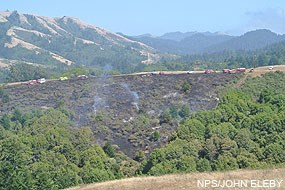 Fire on Bolinas Ridge near the Jewell Trail junction on July 23, 2012, at 3:22 pm.