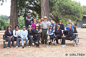 GirlTrek group with John Dell'Osso at the Bear Valley Picnic Area.