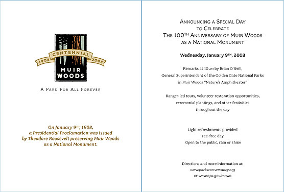 Muir Woods National Monument's 100th Aniversary Celebration Invitation
