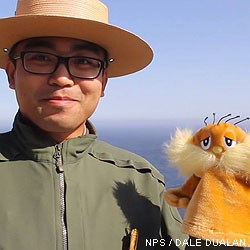 Point Reyes Social Media Team member Dale with a Lorax hand puppet.