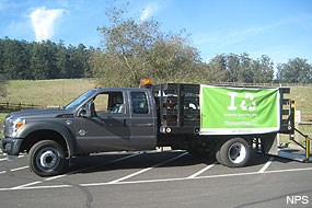 Truck collecting e-waste at Bear Valley Visitor Center on November 15, 2012.