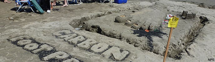 2012 Sand Sculpture Contest: People's Choice Award Winner: Entry #06: Carbon Footprint, by Cooper-Levine family