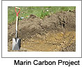 Soil horizon with shovel on the left. Credit: Marin Carbon Project. Click on this image to view the Soundslides presentation.