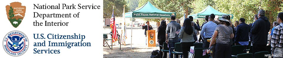Logos for the National Park Service and the U.S. Citizenship and Immigration Service (left) and a picture of citizenship candidates with raised right hands taking an oath during the 2018 Naturalization Ceremony at Point Reyes National Seashore.
