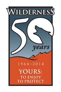 "Logo for the Wilderness Act's 50th Anniversary Celebration. ""Wilderness 50 Years; 1964-2014; Yours to Enjoy and to Protect."""