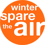 "The words ""winter spare the air"" in a solid orange circle."