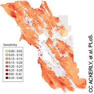 Map showing the projected sensitivity of vegetation to climate change. Creative Commons Ackerly, et al. Public Library of Science. (Click on this image to go to the PLoS ONE journal article in which this map was published.)