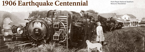 1906 Earthquake Centennial Resource Newsletter. Train on its side after 1906 Earthquake in Point Reyes Station.
