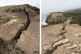 Two photographs of a new fissure that has formed on top of Arch Rock, first reported on March 19, 2015. (Click on images for larger versions of each image.)