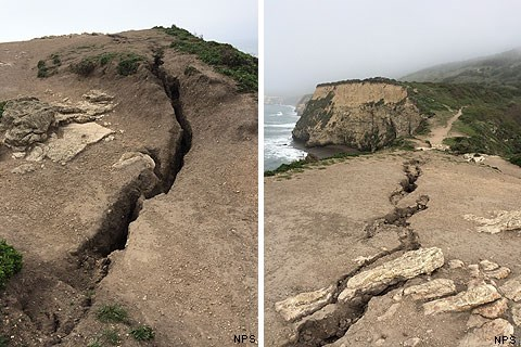 Side by side images of fissure that formed on top of Arch Rock in March 2015.