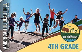Image of the 2019–2020 Every Kid Outdoors Pass, featuring a photo of nine children jumping off the ridge of a sand dune.