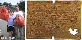 (Left) Beach Cleanup Volunteers with orange trash bags filled with litter. (Right) Replica of forged plate Sir Francis Drake is recorded to have left at site of his summer 1579 Nova Albion camp.