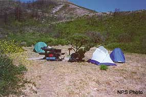 A campsite in Coast Campground
