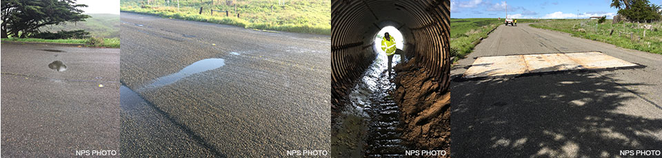 Four images of Drakes Beach Road before the culvert failed.