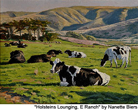 "Oil Painting: ""Holsteins Lounging, E Ranch"" by Nanette Biers"