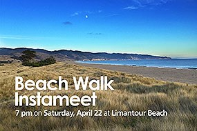 "Sand dunes covered by beachgrass at Limantour Beach. Text reads: ""Beach Walk Instameet. 7 pm on Saturday, April 22 at Limantour Beach."""