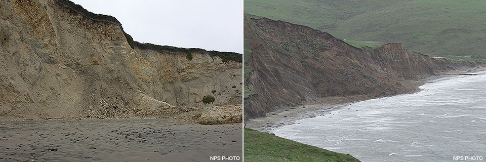 Two photos: (Left) A relatively small amount of rockfall at the base of a beige beach-side bluff. (Right) Brown debris from large landslide covers a section of beach.