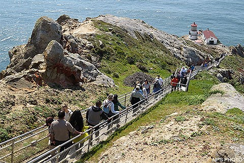 Visitors ascending and descending the 308 steps leading down to the Point Reyes Lighthouse.