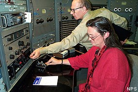 Radiotelegrapher Denise Stoops and Transmitter Chief Steve Hawes sending Morse messages on Night of Nights.