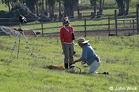 UC Berkeley scientist and volunteer measuring soil carbon dioxide flux with an infrared gas analyzer to determine the background greenhouse gas emissions as part of the successful Marin Carbon Project research on soil carbon biosequestration.