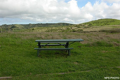 A picnic table in a grassy prairie with grass-covered hills in the background.