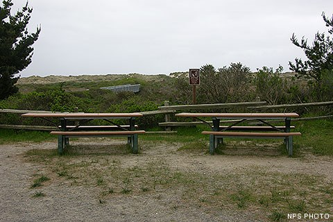 Two picnic table in front of a split rail fence with vegetation and sand dunes in the background.